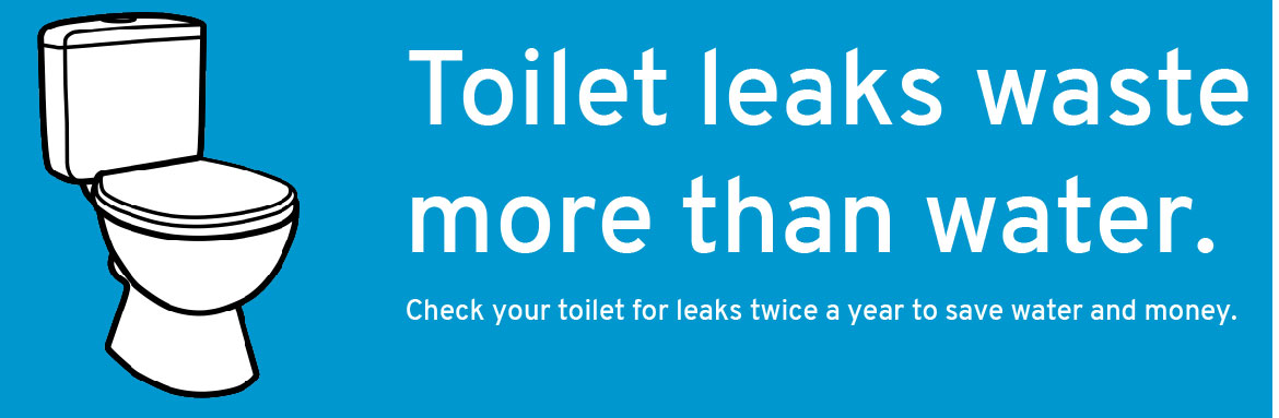 Toilet leaks waste more than water. Check your toilet for leaks twice a year to save water and money.